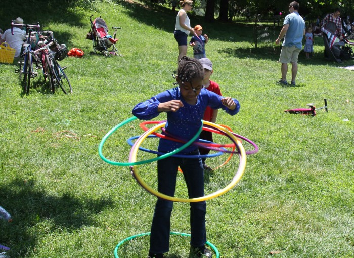 Karmelitta shows off her hoola hoop skills
